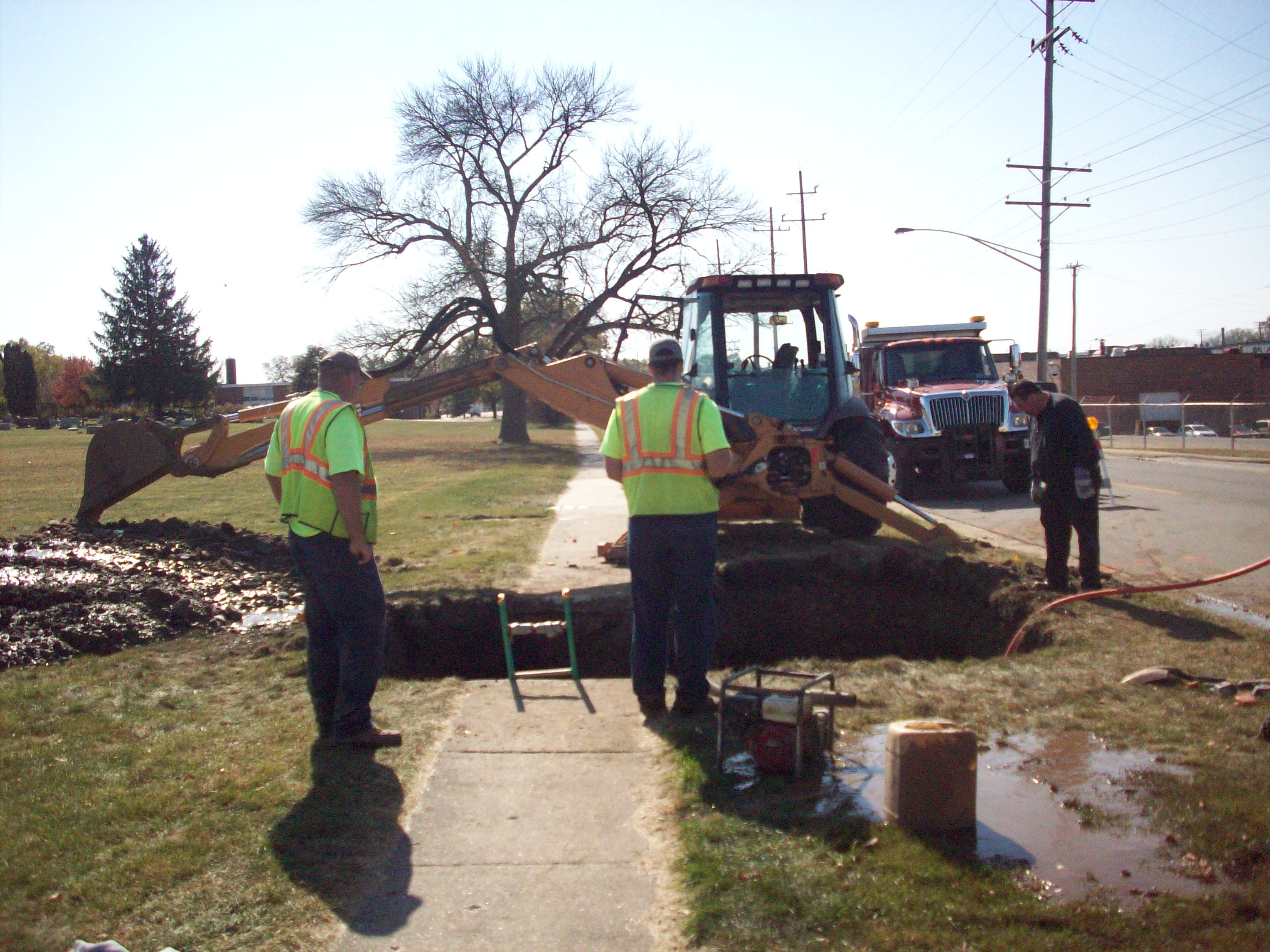 public works crews on main break